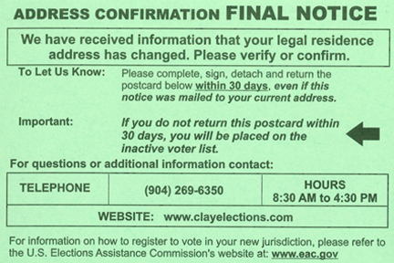 Address Confirmation Final Notice