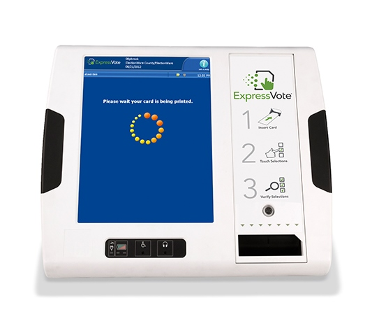 ivotronic image and video on how to cast ballot using Express Vote machine